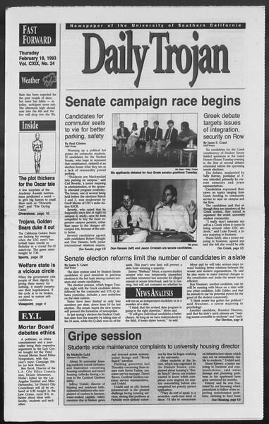 Daily Trojan, Vol. 119, No. 24, February 18, 1993