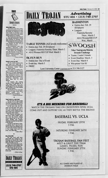 Daily Trojan, Vol. 139, No. 28, February 23, 2000