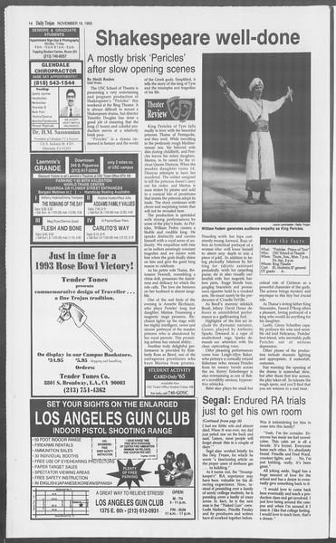 Daily Trojan, Vol. 121, No. 57, November 19, 1993