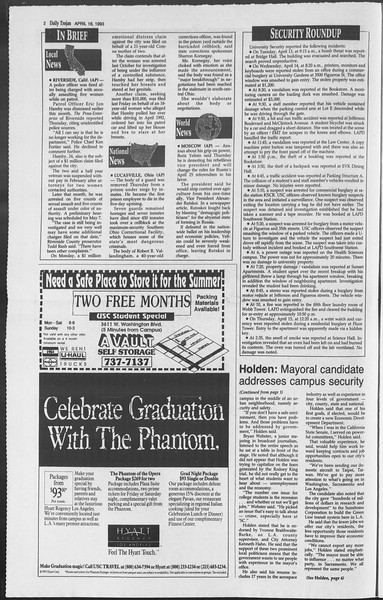 Daily Trojan, Vol. 119, No. 59, April 16, 1993