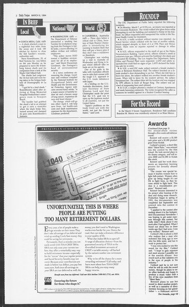 Daily Trojan, Vol. 122, No. 38, March 09, 1994