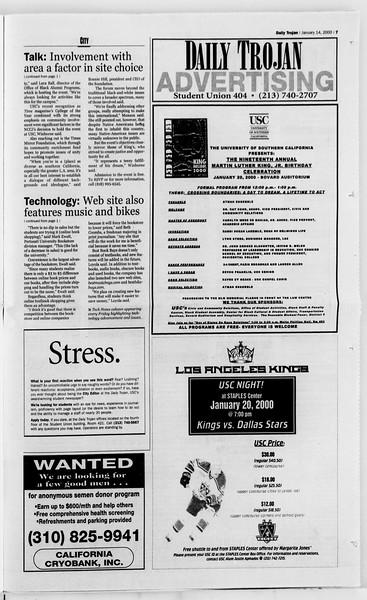 Daily Trojan, Vol. 139, No. 4, January 14, 2000
