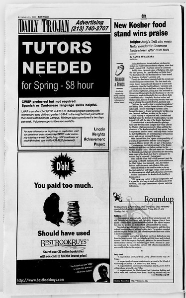 Daily Trojan, Vol. 139, No. 1, January 11, 2000
