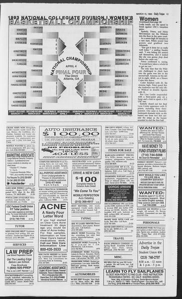 Daily Trojan, Vol. 119, No. 41, March 15, 1993