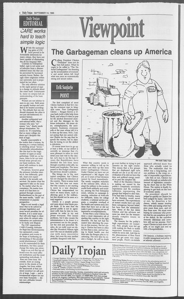 Daily Trojan, Vol. 121, No. 10, September 14, 1993