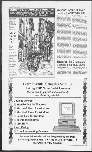 Daily Trojan, Vol. 123, No. 61, December 01, 1994