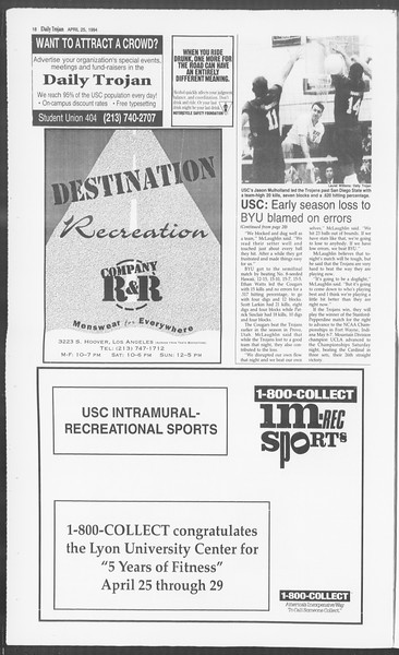Daily Trojan, Vol. 122, No. 65, April 25, 1994