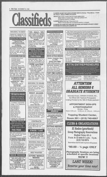 Daily Trojan, Vol. 121, No. 52, November 12, 1993
