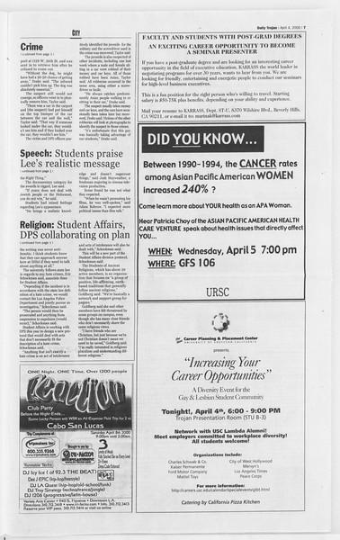 Daily Trojan, Vol. 139, No. 50, April 04, 2000