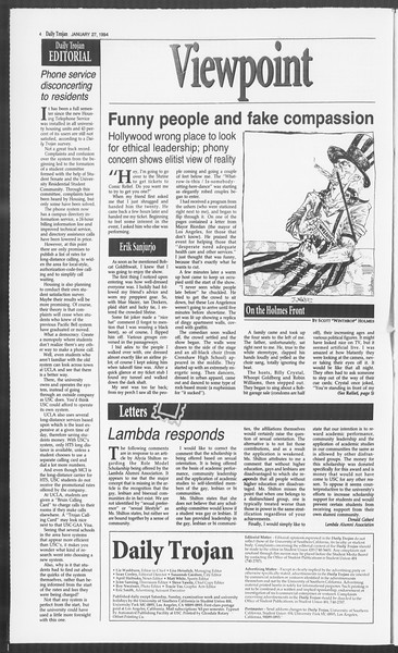Daily Trojan, Vol. 122, No. 11, January 27, 1994
