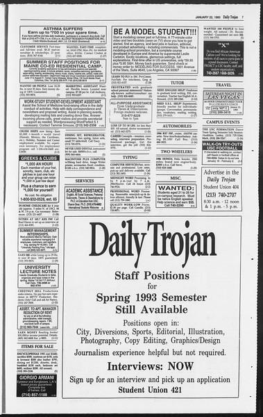 Daily Trojan, Vol. 119, No. 7, January 22, 1993