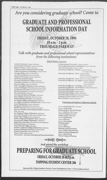 Daily Trojan, Vol. 123, No. 39, October 27, 1994