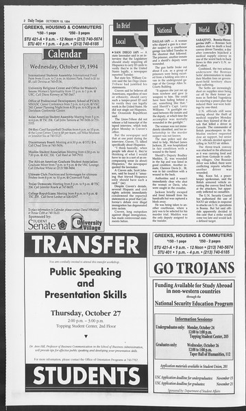 Daily Trojan, Vol. 123, No. 33, October 19, 1994