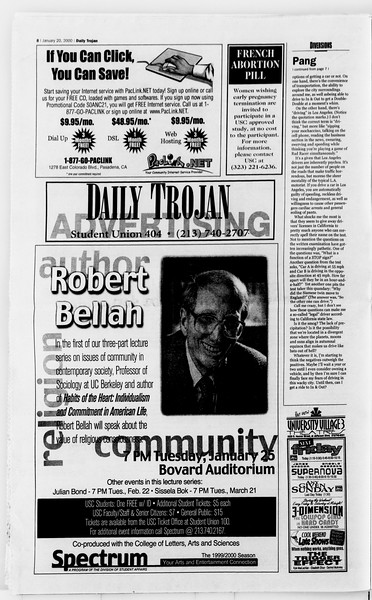 Daily Trojan, Vol. 139, No. 6, January 20, 2000