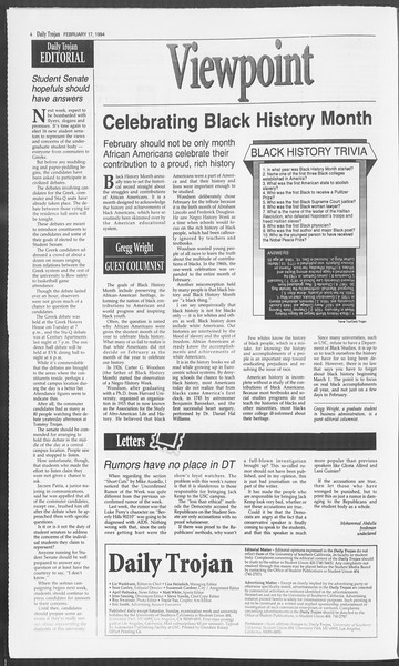 Daily Trojan, Vol. 122, No. 26, February 17, 1994