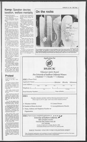 Daily Trojan, Vol. 122, No. 29, February 24, 1994
