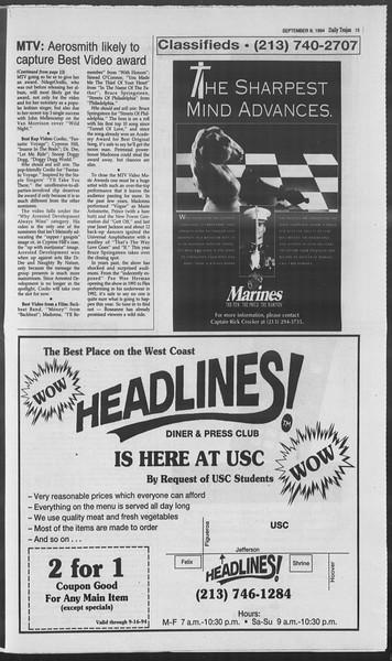 Daily Trojan, Vol. 123, No. 5, September 08, 1994