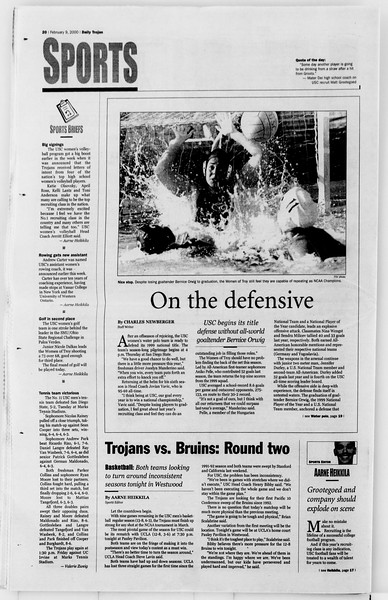 Daily Trojan, Vol. 139, No. 20, February 09, 2000