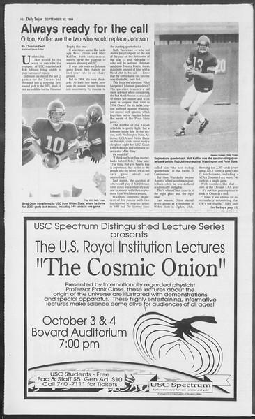 Daily Trojan, Vol. 123, No. 21, September 30, 1994
