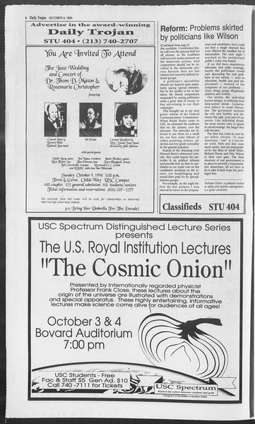 Daily Trojan, Vol. 123, No. 22, October 03, 1994
