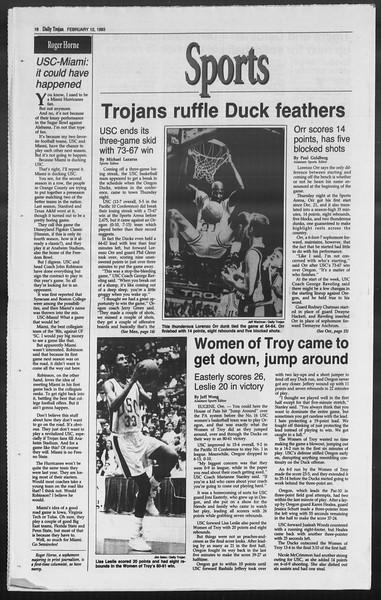 Daily Trojan, Vol. 119, No. 22, February 12, 1993