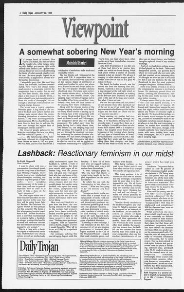 Daily Trojan, Vol. 119, No. 7, January 22, 1993