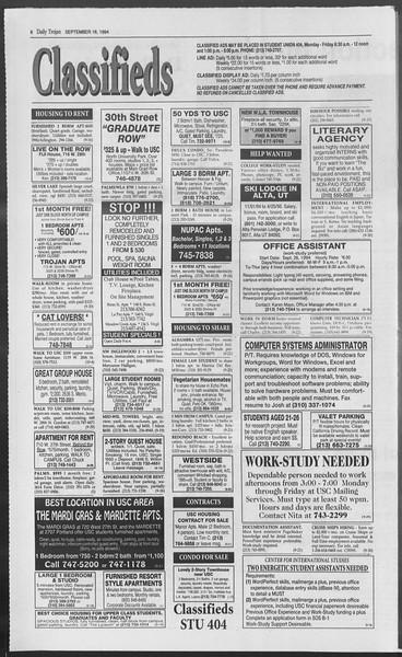 Daily Trojan, Vol. 123, No. 11, September 16, 1994