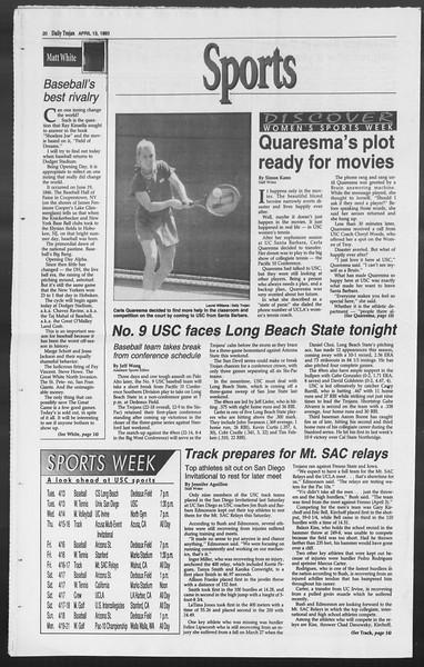 Daily Trojan, Vol. 119, No. 56, April 13, 1993