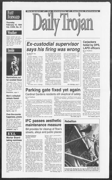 Daily Trojan, Vol. 122, No. 21, February 10, 1994
