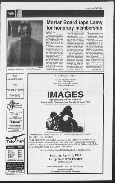 Daily Trojan, Vol. 119, No. 52, April 07, 1993