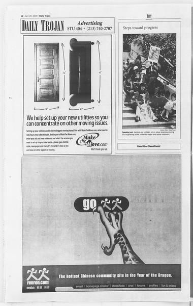 Daily Trojan, Vol. 139, No. 62, April 20, 2000