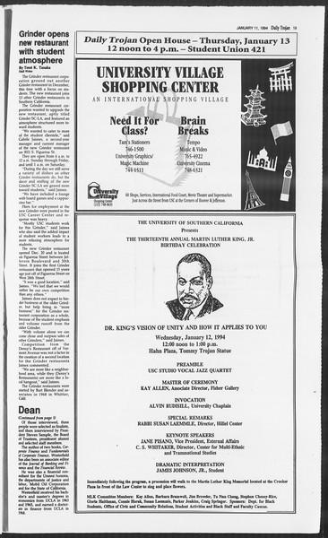 Daily Trojan, Vol. 122, No. 1, January 11, 1994
