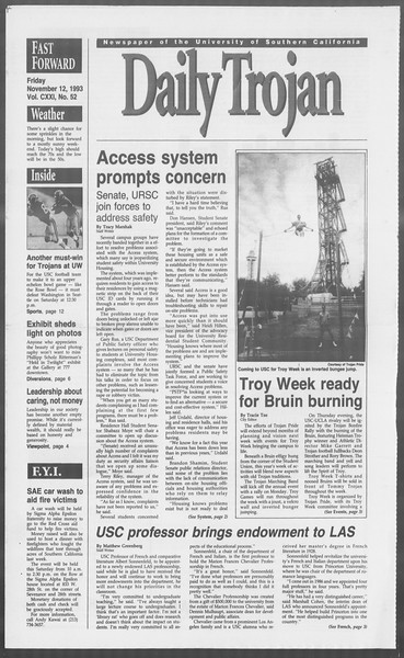 Daily Trojan, Vol. 121, No. 52, November 12, 1993