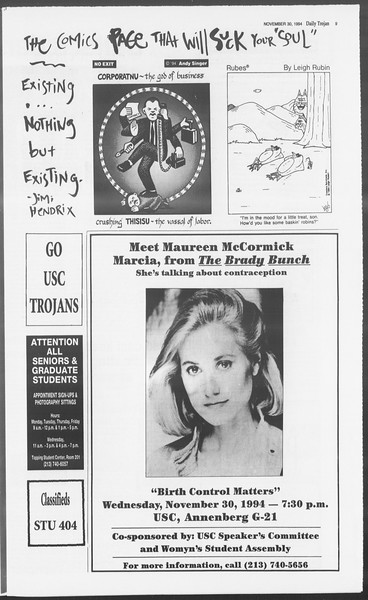Daily Trojan, Vol. 123, No. 60, November 30, 1994