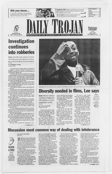 Daily Trojan, Vol. 139, No. 50, April 04, 2000