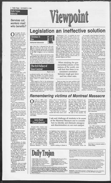 Daily Trojan, Vol. 123, No. 64, December 06, 1994