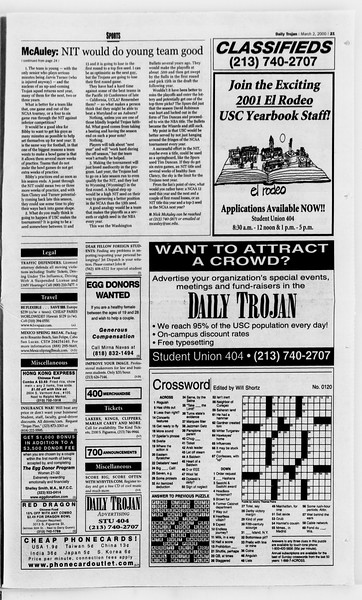 Daily Trojan, Vol. 139, No. 34, March 02, 2000
