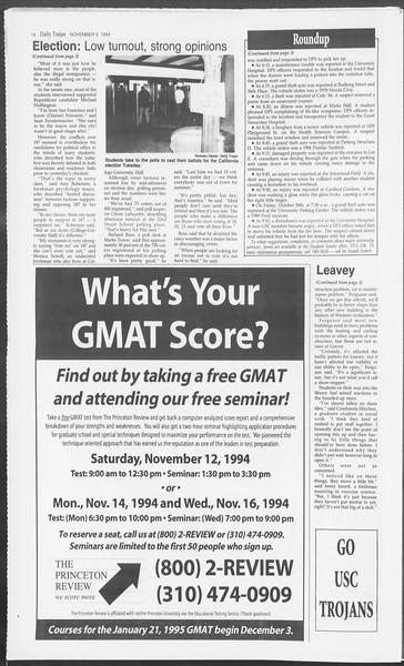 Daily Trojan, Vol. 123, No. 49, November 09, 1994