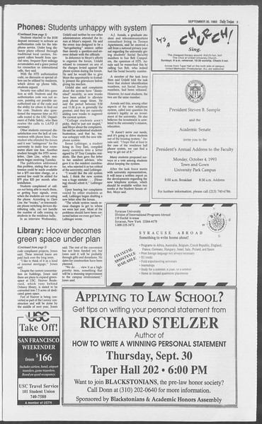 Daily Trojan, Vol. 121, No. 22, September 30, 1993