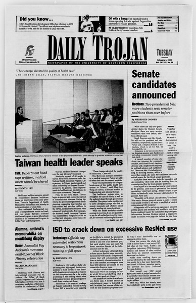 Daily Trojan, Vol. 139, No. 14, February 01, 2000