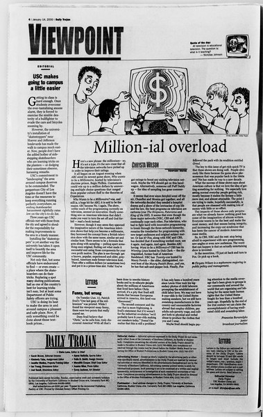 Daily Trojan, Vol. 139, No. 4, January 14, 2000