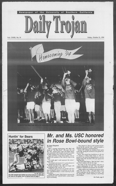 Daily Trojan, Vol. 123, No. 35, October 21, 1994