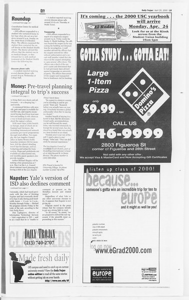 Daily Trojan, Vol. 139, No. 62, April 20, 2000