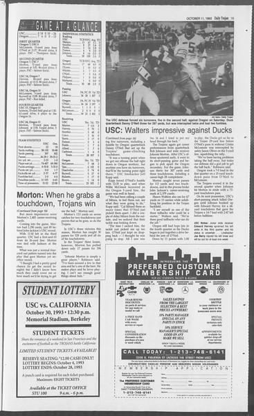 Daily Trojan, Vol. 121, No. 29, October 11, 1993