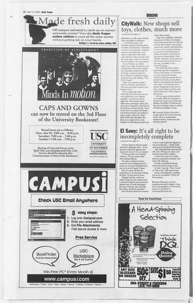 Daily Trojan, Vol. 139, No. 59, April 17, 2000