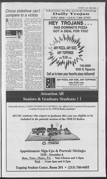 Daily Trojan, Vol. 123, No. 24, October 05, 1994