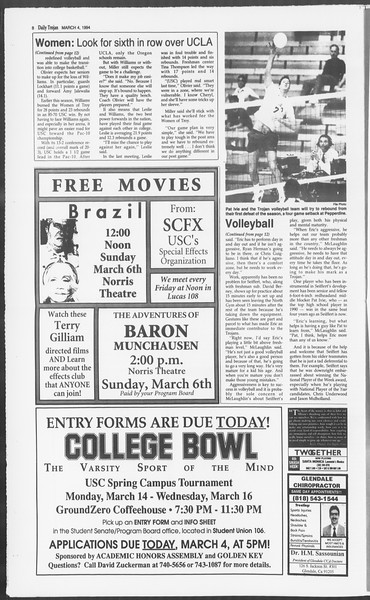 Daily Trojan, Vol. 122, No. 35, March 04, 1994