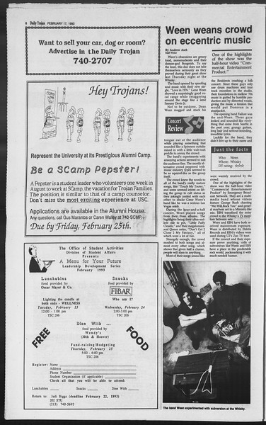 Daily Trojan, Vol. 119, No. 23, February 17, 1993