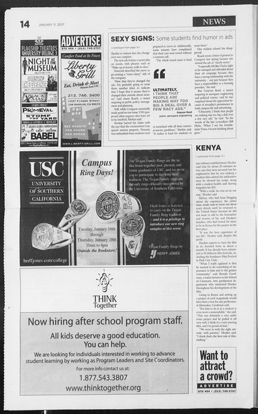 Daily Trojan, Vol. 160, No. 3, January 11, 2007