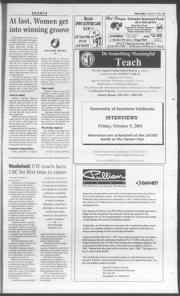Daily Trojan, Vol. 144, No. 26, October 04, 2001
